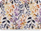 Deco fabric, flower print, white-violet, 140cm
