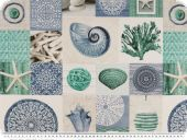 Deco fabric, digital print, shellfish, patch, white-blue
