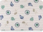 Deco fabric, digital print, fish and shells, white-blue