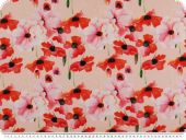Decoration fabric, poppies, percal cotton, rose-red
