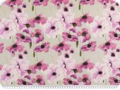 Decoration fabric, poppies, percal cotton, violet