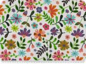 Deco fabric, trendy flowers, white-colourful, 140cm
