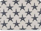 Jacquard deco fabric, starfish, reversible, white-blue