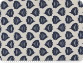 Jacquard deco fabric, fish, reversible, white-blue, 140cm
