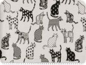 Jacquard deco fabric, cats, reversible, black and white