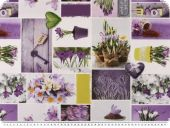 Twill deco fabric, digital print, flowers, white-violet