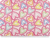 Deco fabric, digital print, hearts, rose-colourful, 140cm