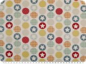 Deco fabric, digital print, circles with stars, multicolour