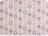 Deco fabric, digital print, circles with stars, rose, 140cm