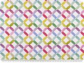 Deco fabric, digital print, grid, pink-colourful, 140cm