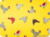 Cotton fabric, cock and chicken, yellow, ca. 140cm