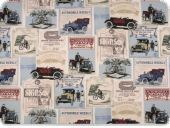 Deco fabric , oldtimer, multicolour, 140cm