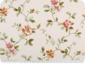 Deco fabric , flowers, white-green-red, 140cm