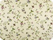 Deco fabric , flowers, ecru-violet-green, 140cm