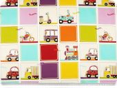 Children-deco fabric, cars and motor cycles, 140cm