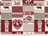 Jacquard deco fabric, cottage, red-green-ecru, 140cm