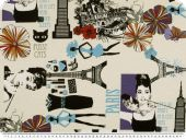 Deco fabric, NY, Paris, cinema stars, ecru-violet, 140cm