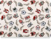 Deco fabric, owls grey/red/beige on offwhite, 140cm