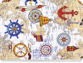 Colourful deco fabric, world map,  multicoloured, 140cm