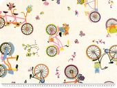 Nice decoration fabric, bicycles, beige-multicoloured, 140cm