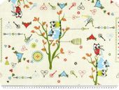 Deco fabric for children, owls, ecru-multicolour, 140cm