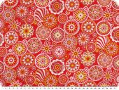 Nice cotton fabric, flowers, red-multicolour, 140cm