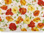 Nice deco fabric, flowers, red-yellow-multicolour, 165cm