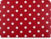 Coated cotton, dots, washable, red, 140cm