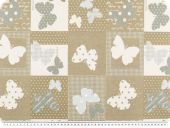 Jacquard upholstery fabric, butterfly, mud-light blue, 140cm