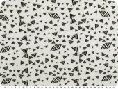 Cotton jersey, triangles, white-black, 150cm