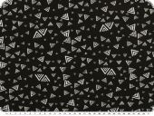 Cotton jersey, triangles, black-white, 150cm