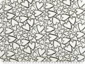 Cotton jersey, hearts, white and black, 150cm