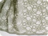 Lace with flowers, both-sided scallop, grey, ca. 134cm