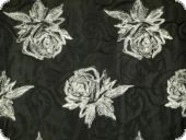 Quilt fabric, flowers, black and white, 135cm