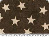 Superfleece, stars, dark brown - ecru, 150cm