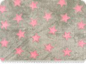Superfleece, stars, grey-rose, 150cm