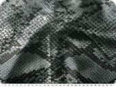 Artificial leather, snake pattern, silver-black, 138cm