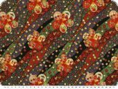 Viscose mousseline, waves and flowers, green-orange