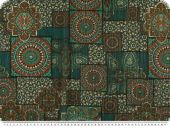 Viscose print, patch, ornaments, green-orange, 145cm