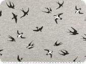 Sweat print, swallows, light grey, 150cm
