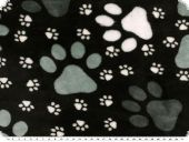 Superfleece, animal paws, black-grey, 150cm