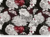 Viscose jersey, abstract flowers, black-multicilour, 150cm