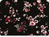 Viscose jersey, flowers, black-red-white, 150cm