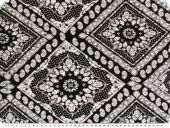 Viscose jersey, ornaments and paisley, black and white, 160c