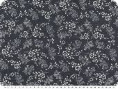 Denim print, 7oz,  flowers, dark  blue, 140-142cm
