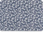 Denim print, 7oz,  small flowers, jeans blue, 140-142cm