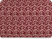 Mousseline, viscose print, flowers and tendrils, burgundy