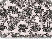 Mousseline, viscose print, flowers and animals, white-black