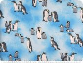 Sweat print, penguins, light blue, 150cm