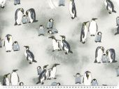Sweat print, penguins, light grey, 150cm